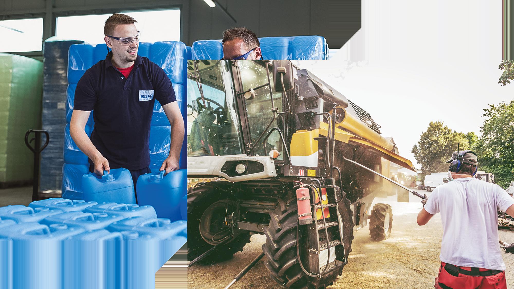 Zwei Bilder von Reinigung einer Landmaschinen und stapeln einer Palette
