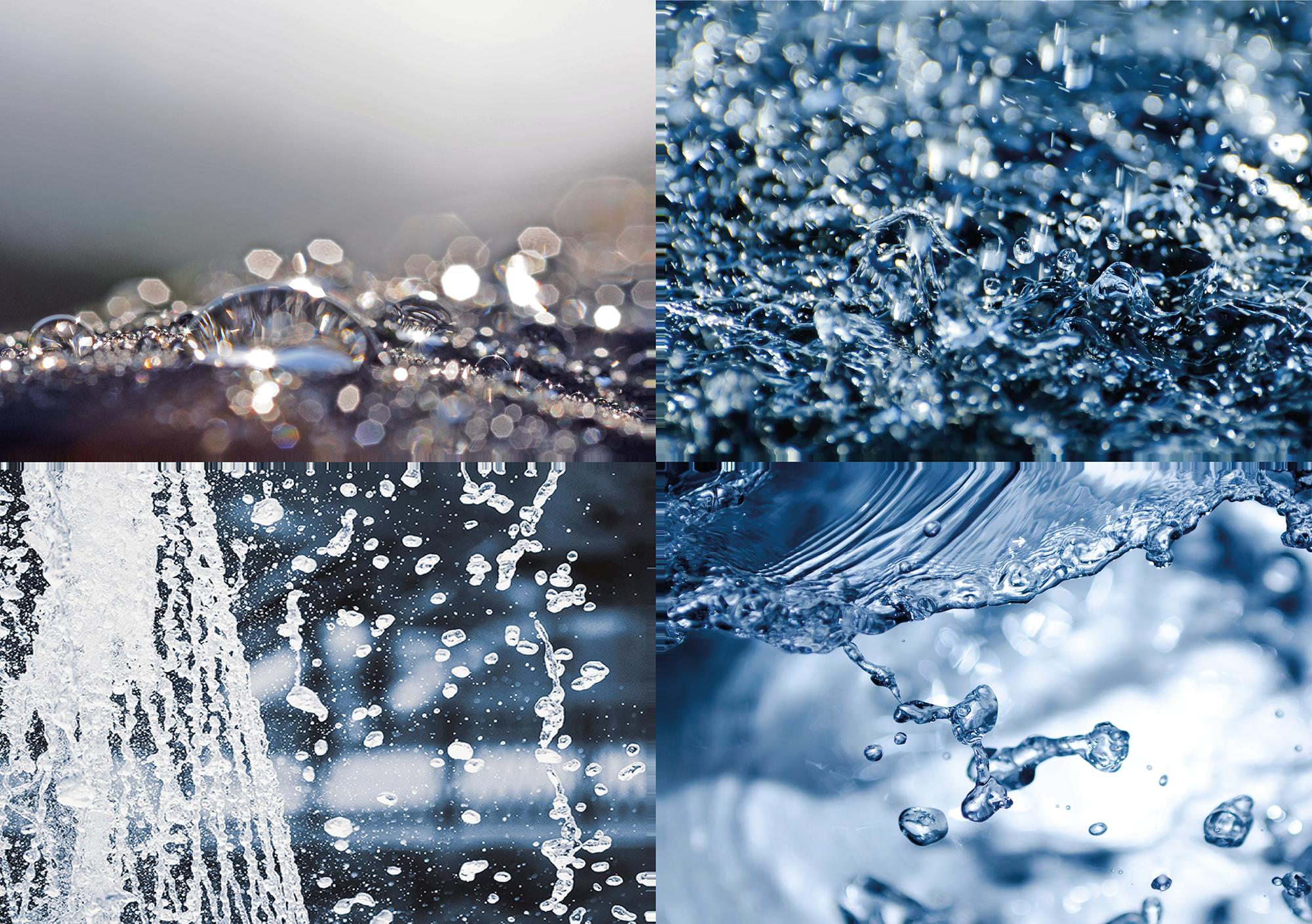 Vier Nahaufnahmen von fliessendem Wasser