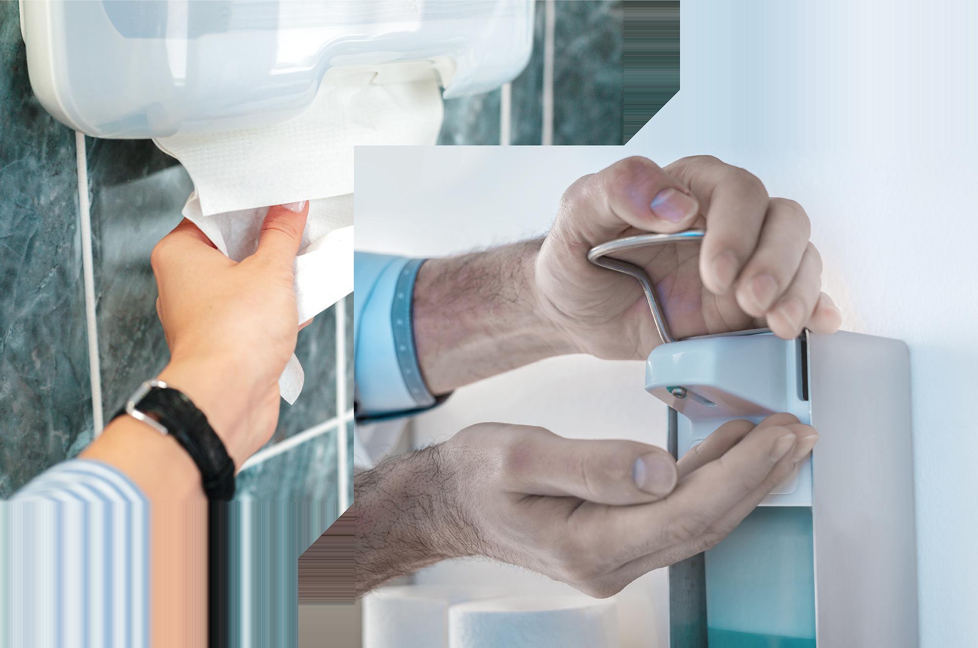 Zwei Bilder von Handreinigung und Handdesinfektion